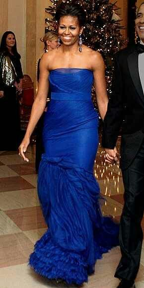 Michelle Obama-blue evening gown