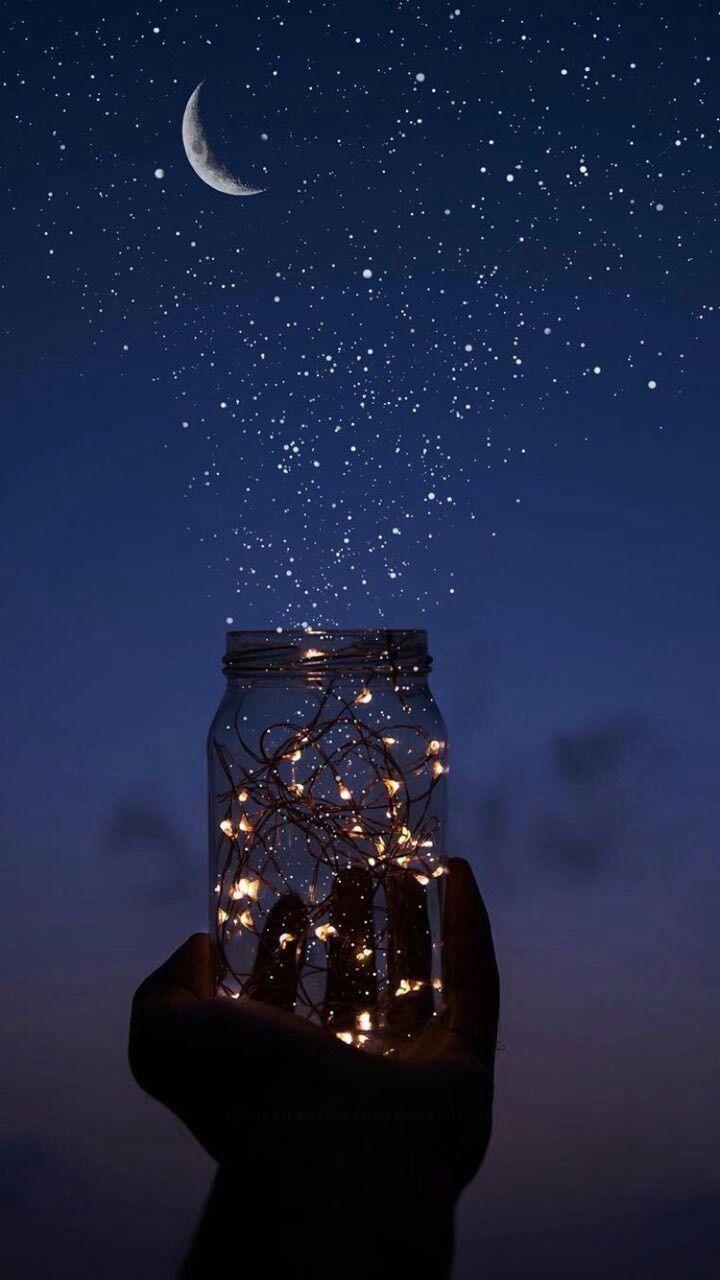 Stars And Moon Mason Jar Phone Wallpaper Background