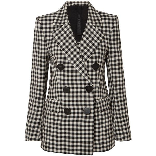 Petar Petrov Jill gingham wool-crepe blazer (17.728.475 IDR) ❤ liked on Polyvore featuring outerwear, jackets, blazers, blazer, suits, coats & jackets, black, double breasted wool blazer, wool jacket and crepe jacket
