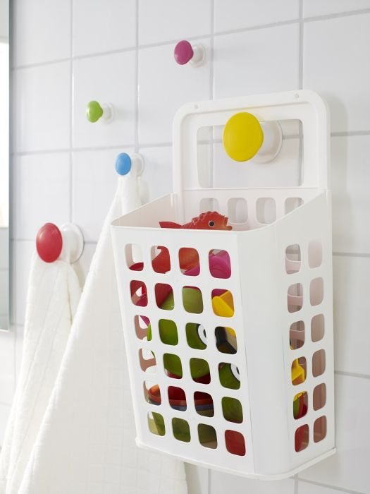 The VARIERA hanging trash basket makes a great organizer for kids' bath toys.  Perfect for Dion's bath toys. It can drain the water out into the tub.