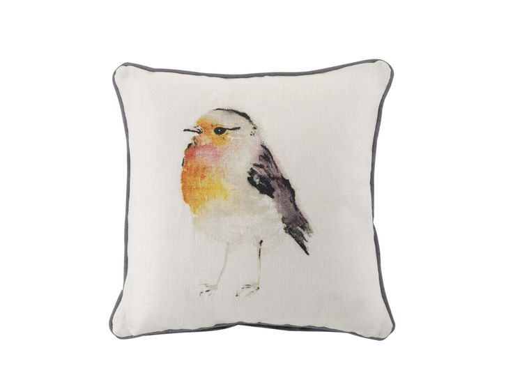 The neutral palette of this watercolour effect robin cushion is perfect for a mix-and-match style.  Priced at £12. #sainsburys #autumndreamhome