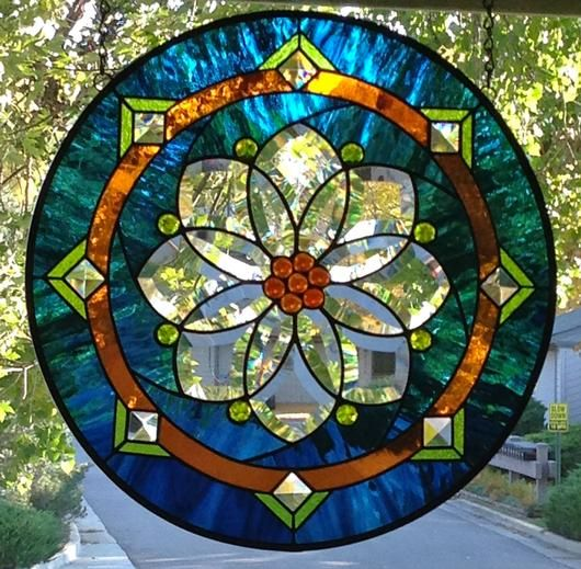 Round Stained Glass Panel - by Amber Glass Studio