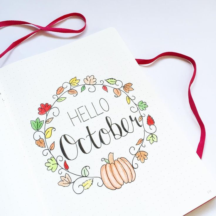 How is it nearly October? This year is just flying by!  #bulletjournal #bujo #bulletjournaljunkies #bujojunkies  #handlettering #wordwreath #cursive #leaves #autumnleaves #pumpkin #october