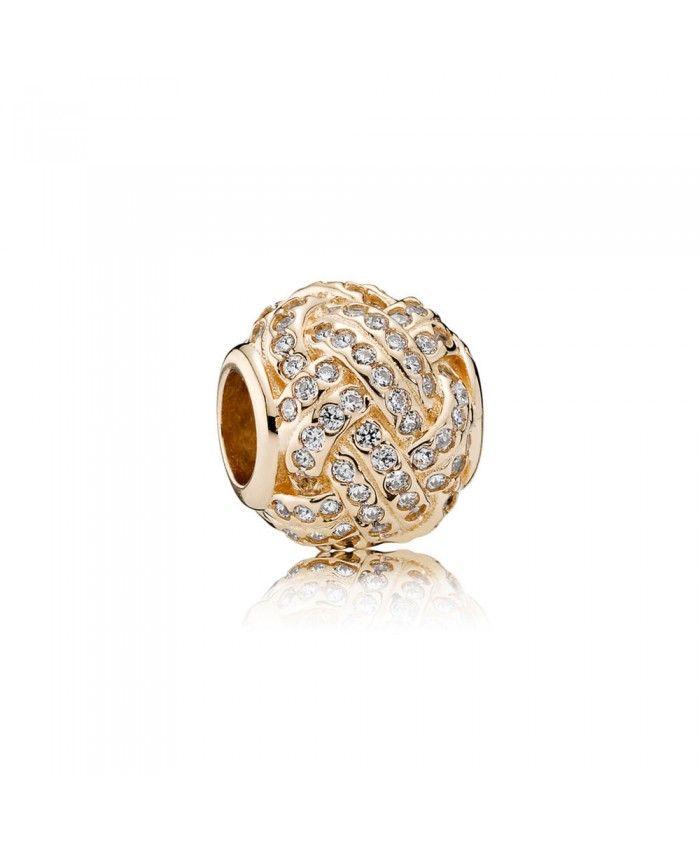 Pandora 14ct Gold Sparkling Love Knot Cheap Sale