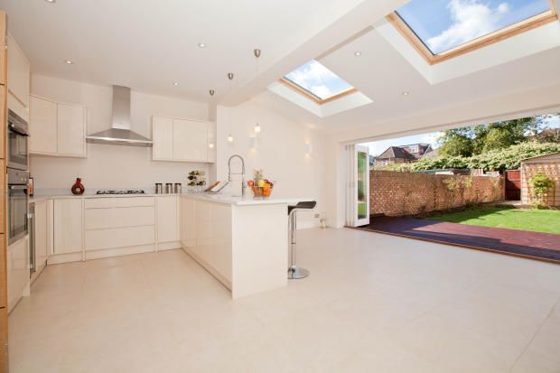 "What I'm thinking.....Single storey rear extension? this is a great example of how you can use your space. Seperate your kitchen area, but still keep it ""open plan"" for informal feeling with space for zoning of dining area. large velux windows and floor to ceiling concertina doors brings the outdoors in for those breezy summer days :) Simple. Love."