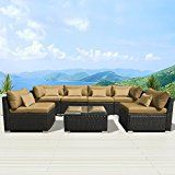 Modenzi 7G-U Outdoor Sectional Patio Furniture Espresso Brown Wicker Sofa Set (Dark Beige)