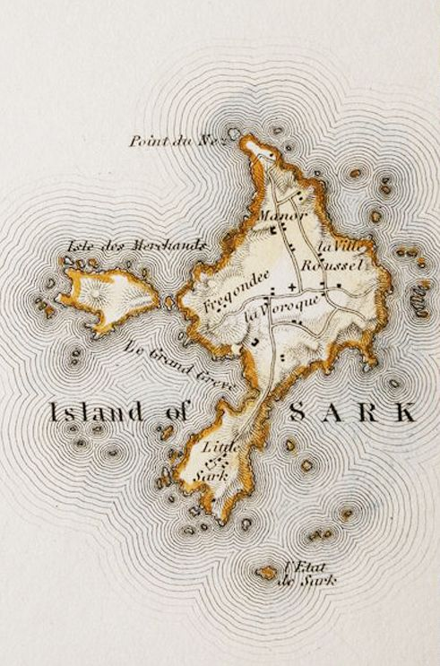 Antique map Sark, Channel Islands