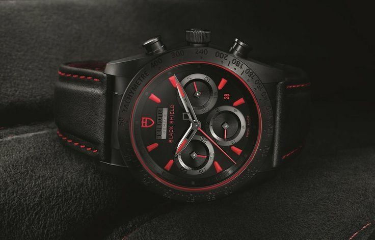 Montre homme Tudor Fastrider Black Shield chronograph rouge - verygoodlord