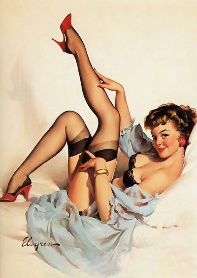 Remember when models used to smile? Even the naughty girls looked somewhat normal and happy. Haha! (Gil Elvgren pin-up girl.)