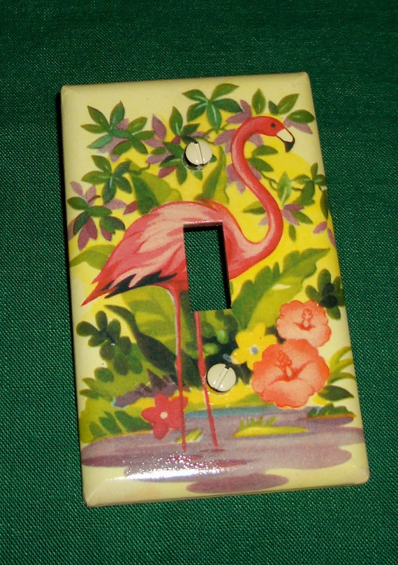 Vintage Flamingo Switch Plate Cover Vintage By Rbrannagan