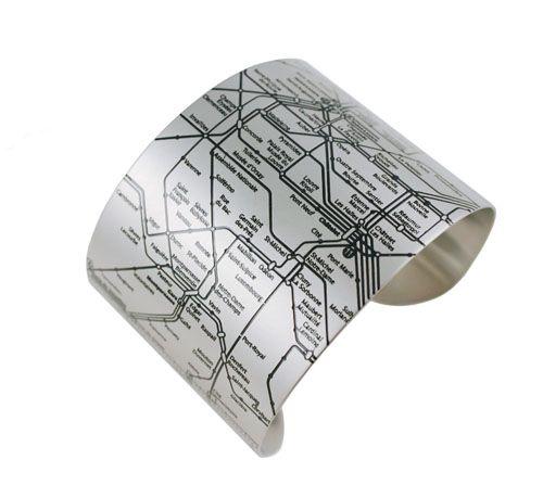 Paris Metro Cuff (black) by www.designhypeinc.com: Métro Cuff, Map Bracelet, Paris Metro, Cuffs, Stainless Steel