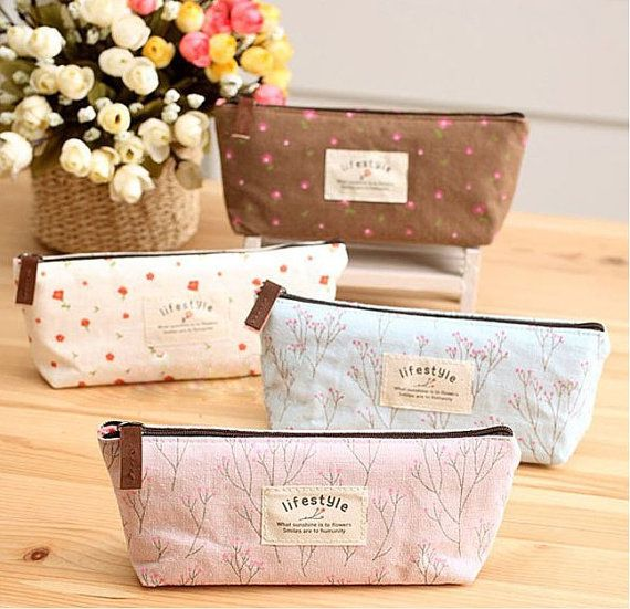 Brown Flower pattern pencil case/ Korean canvas case/ pencil bag with zipper/pencil pouch on Etsy, $5.90