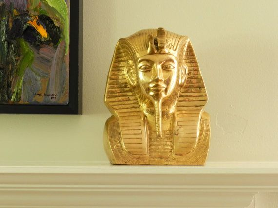 Vintage Brass Bust King Tut Pharoah Get In My House