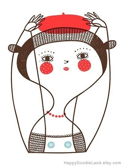 Girl with Red Beret  Print by HappyDoodleLand on Etsy, $20.00