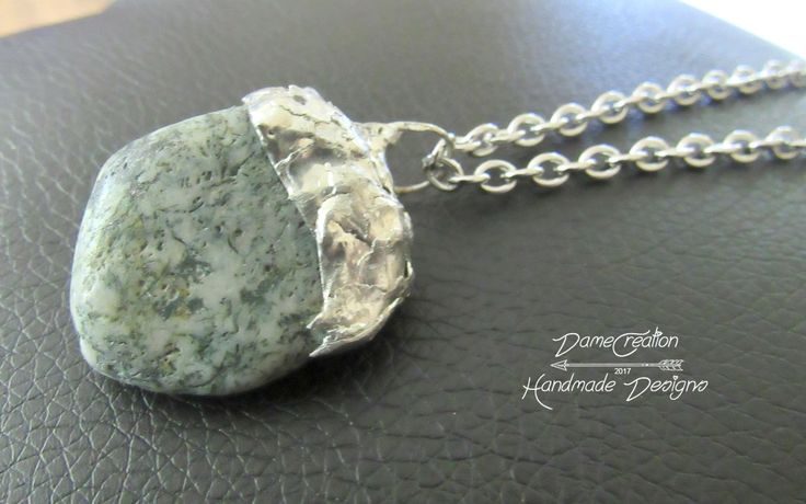 Tree Agate Necklace - Agate Jewelry - Raw Agate Jewelry - Gemstone Necklace - Soldered Jewelry - Artistic Necklace - Artisan Jewelry by DameCreation on Etsy