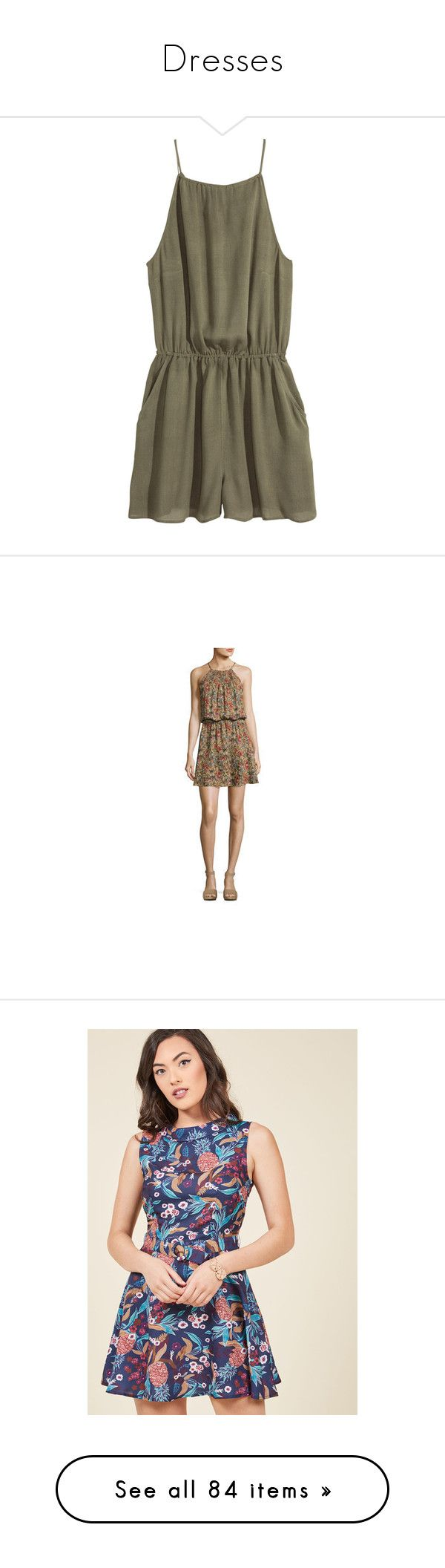 """""""Dresses"""" by elleigh213 ❤ liked on Polyvore featuring jumpsuits, rompers, dresses, playsuits, jumpsuit, khaki green, short romper, h&m romper, playsuit jumpsuit and brown jumpsuit"""