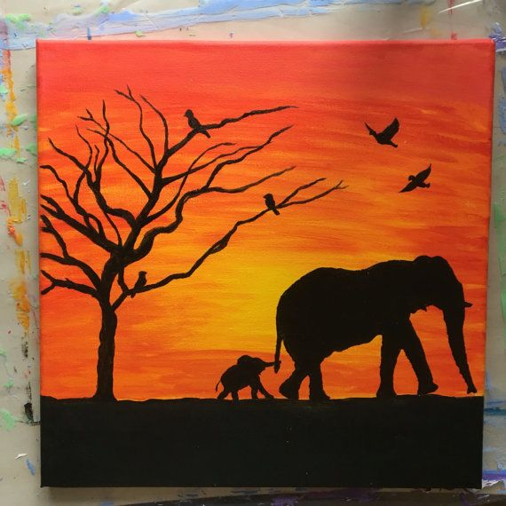 Elephant Sunset Painting Canvas Decor Animals Silhouette