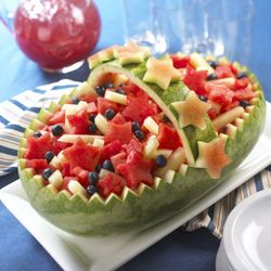 Carved Watermelon ArtFruit Salads, Fourth Of July, Watermelon Art, Food, Watermelon Baskets, 4Th Of July, Fruit Baskets, Watermelon Carvings, Parties Ideas
