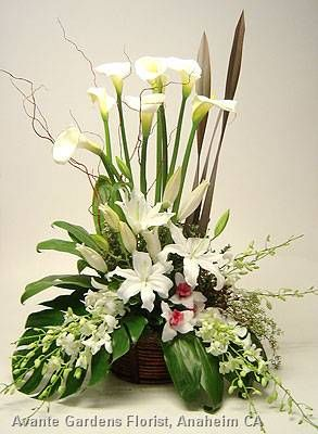 Funeral Arrangement in White with Calla Lilies