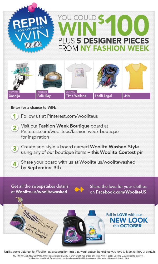 Repin for a chance to win! Woolite Washed Style Challenge details here: http://woolite.us/woolitewashed