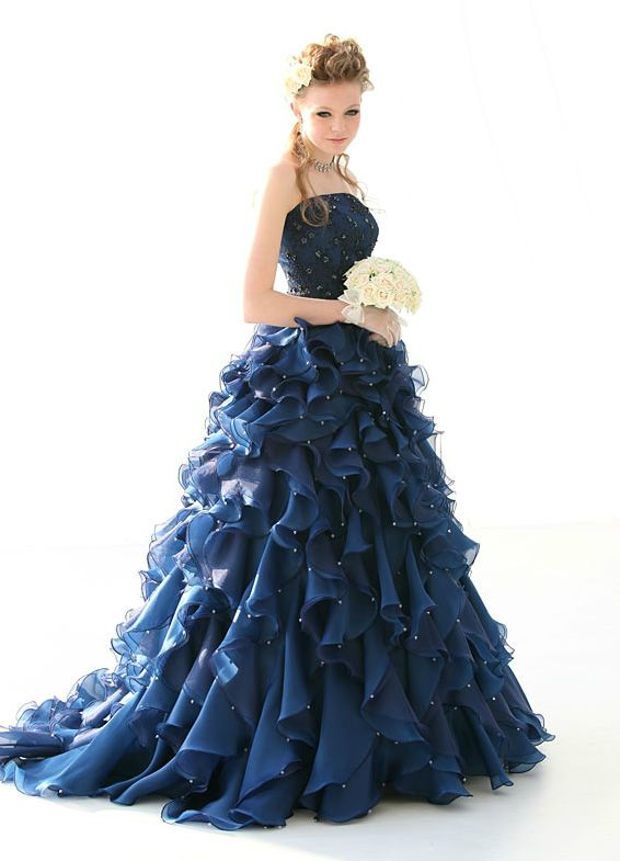 カラードレス 濃紺ネイビー フリルスワロフスキー