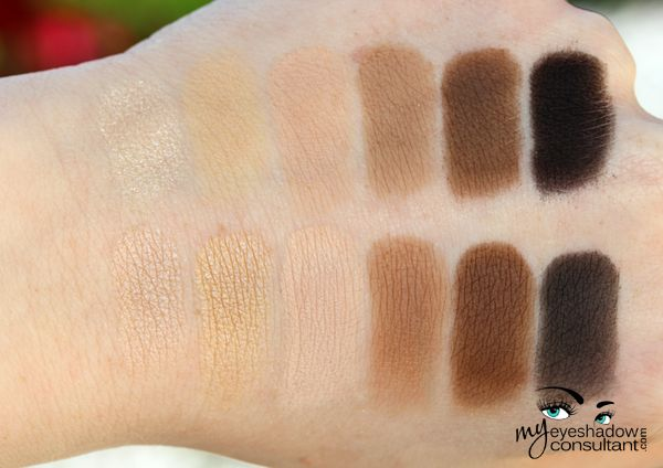 Naked Basics vs. MAC Top Row (L to R) Venus, Foxy, Walk of Shame, Naked2, Faint, Crave Bottom Row (L to R) Shroom, Ricepaper, Blanc Type, Wedge, Espresso, Typographic