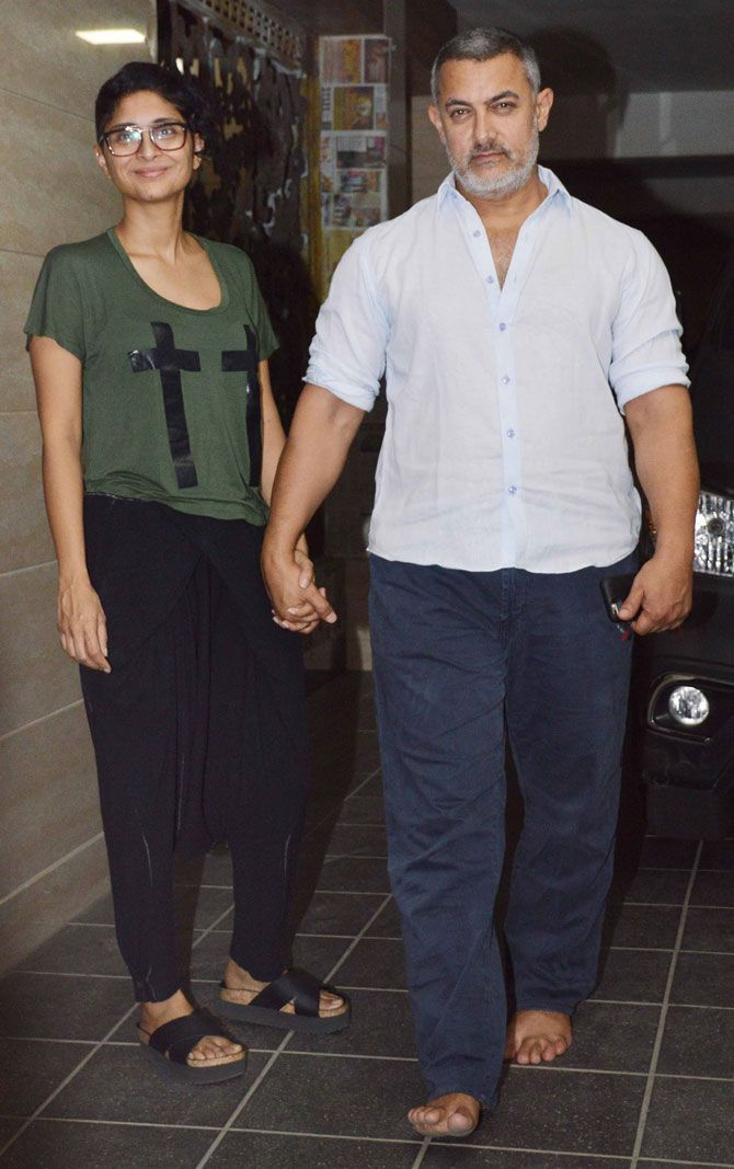 Aamir Khan with wife Kiran Rao outside their residence. #Bollywood #Fashion #Style #Handsome #WAGS