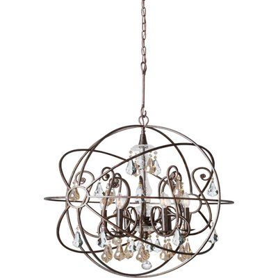 House of Hampton Hester 5 Light Crystal Chandelier Crystal Color: Clear Hand Cut, Finish: Olde Silver