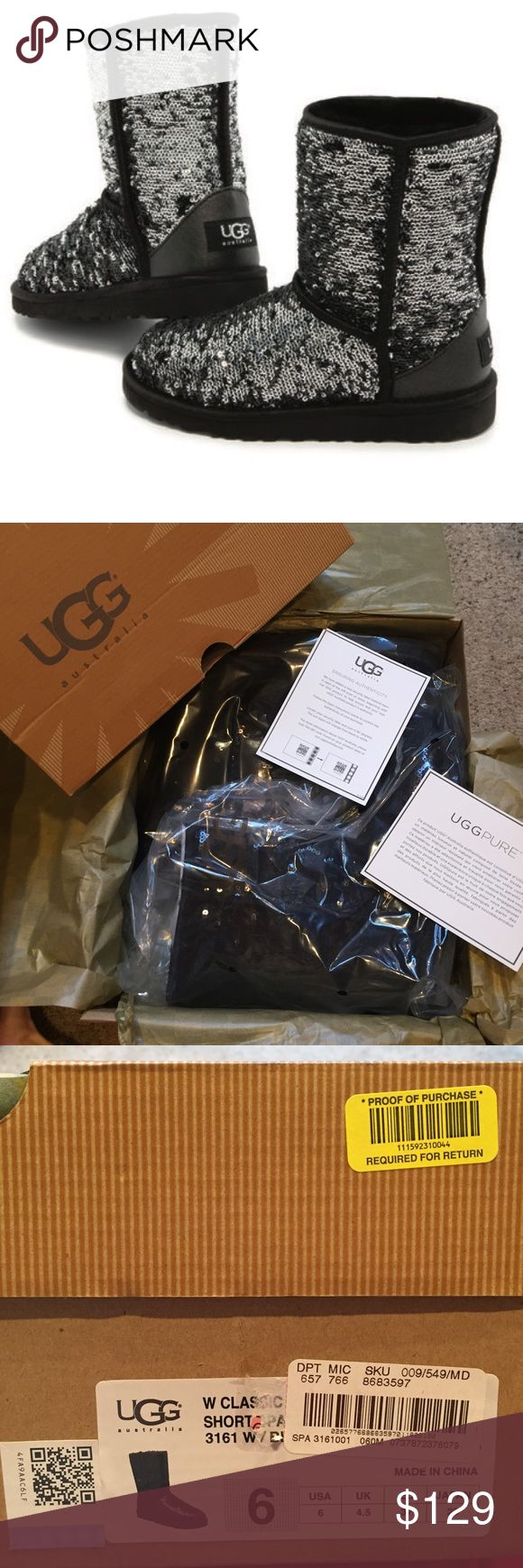 NEW UGG black Sequin Sparkle Boots 6 Brand new in original UGG box.  Black sequined Sparkle UGG boots in size 6.  Comes with authenticity card and care card. Genuine UGG... I don't sell knock-offs UGG Shoes Winter & Rain Boots