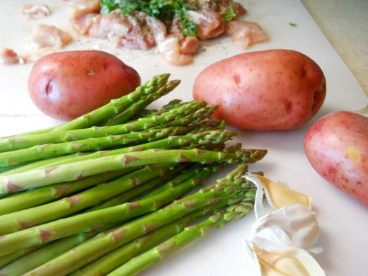 Chicken, Potatoes, & Asparagus one dish meal