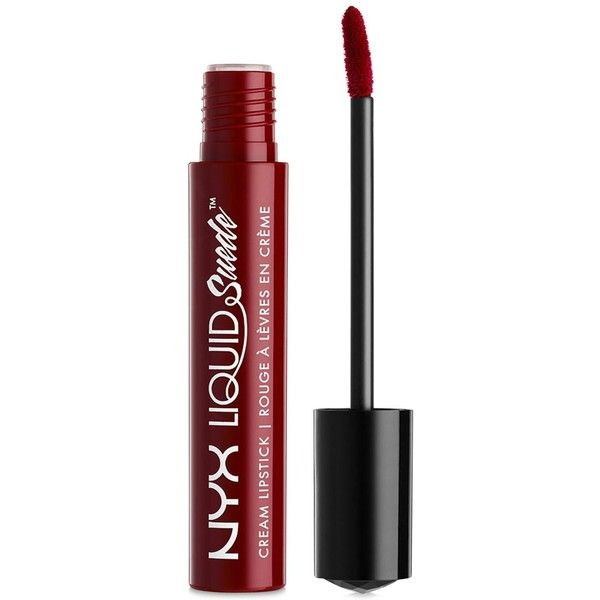 Nyx Professional Makeup Liquid Suede Cream Lipstick found on Polyvore featuring beauty products, makeup, lip makeup, lipstick, lips, beauty, cherry skies, filler, lip gloss makeup and glossy lipstick
