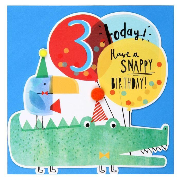 Crocodile 3rd Birthday Card All Birthday Cards Birthday Cards Cards Kids Birthday Cards Birthday Cards Birthday Card Online