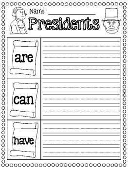 President's Day FREEBIES  7 pages: writing page and colorful class book cover.