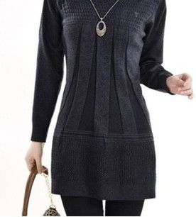 Fashion Women Knitted Dress Ladies Casual Turtleneck And O-neck Plus Size O-Neck Women Plus Size Winter Dresses WZQ039