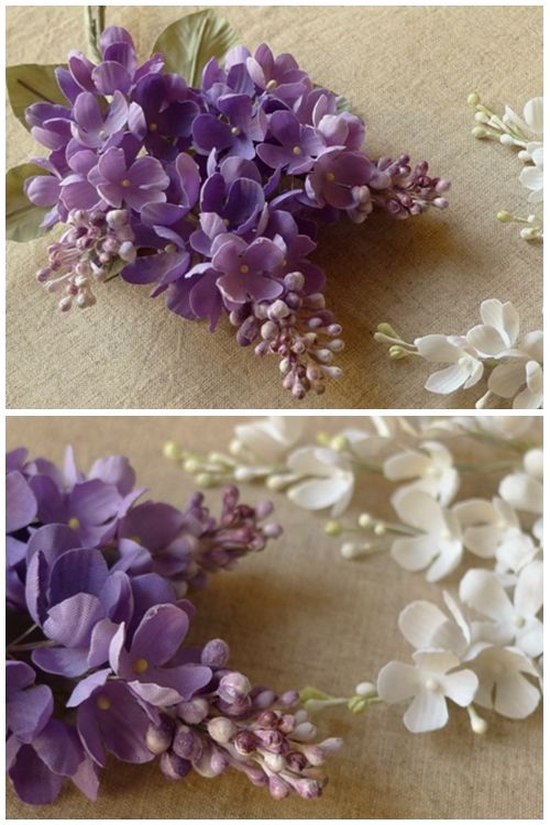 Purple silk flowers