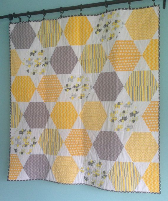 Elephant Gray and Yellow Hexagon Quilt. $105.00