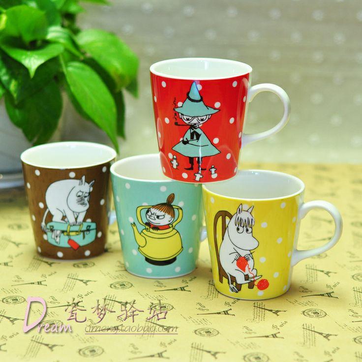 Moomin ceramic polka dot coffee cup glass mug loading box...söpöt :)