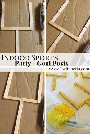 This indoor sports party is sure to be a hit! Field Goal Posts. With an activity for football, baseball, soccer, and basketball. A great birthday party theme for all ages.