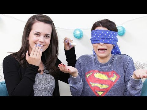 Rosanna Pansino (aka, Nerdy Nummies) plays the What's In My Mouth? challenge where her sis blindfolds her and feeds her random stuff lol