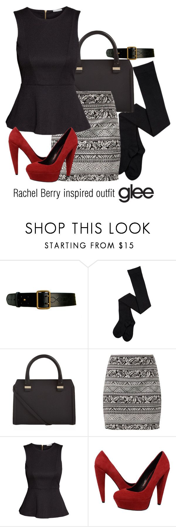 """""""Rachel Berry inspired outfit/glee"""" by tvdsarahmichele ❤ liked on Polyvore featuring Alaïa, Victoria Beckham, H&M and Dolce Vita"""