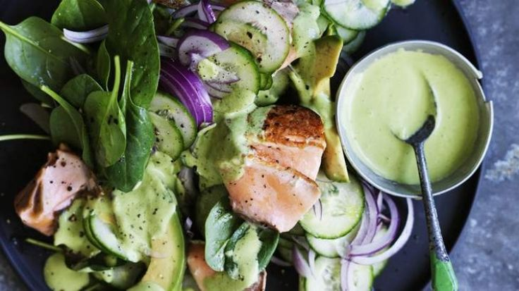Salmon salad with green tahini dressing