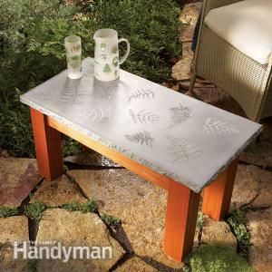 Create a polished concrete table with a solid wood base, with inlays of glass, leaves, tile or other materials. This project is simple enough for even beginning woodworkers to tackle.