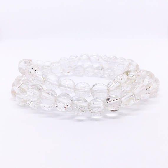 Rutilated Quartz Bracelet Multi Layer Bracelet Silver Rutile