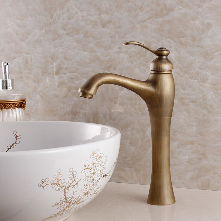 New Design Antique Brass Mixer Waterfall Faucet Bathroom Basin Mixer Sink Tap Basin Faucet Vanity Faucets #Affiliate