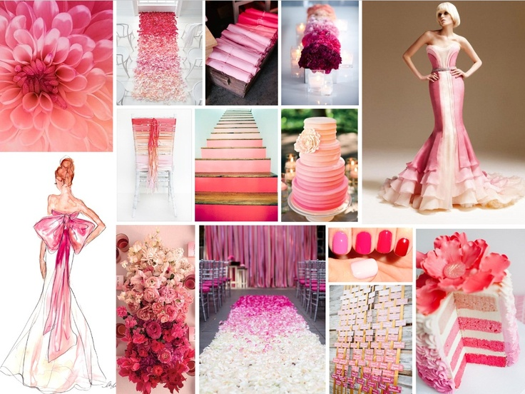 OMBRE WEDDINGS This trend has been hot since summer 2012 and is well known with hair colour and dip-dyed tresses, but how about a little colour gradation in your wedding design?  Gradation is a visual technique of gradually transitioning from one colour hue to another, or from one shade to another, or one texture to another.  We couldn't possibly love this trend more, as it allows for a multi-hued wedding aesthetic.  The bride can have her cake and eat it too after all…