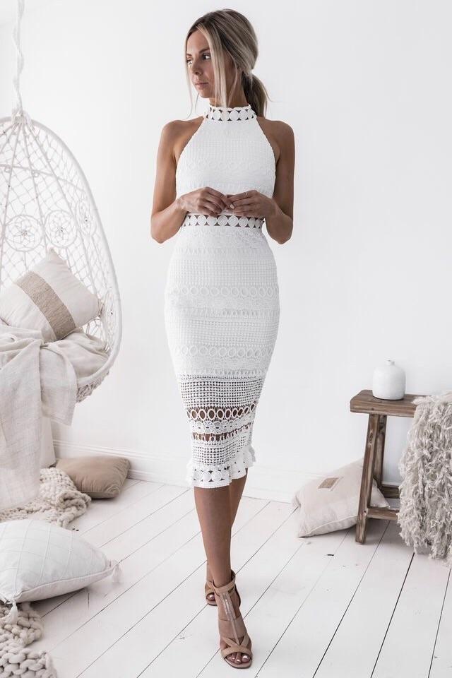 Rivers Midi Dress – White  – NEW ARRIVALS