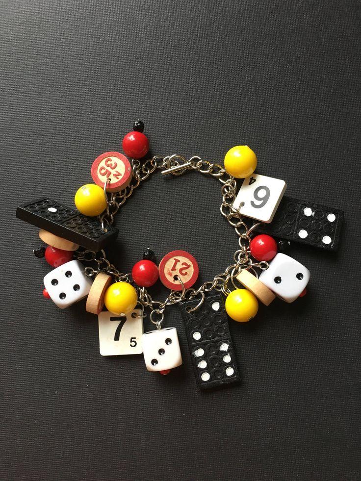 Black Domino and Vintage Bingo Token Charm Bracelet.           Gloucestershire Resource Centre http://www.grcltd.org/scrapstore/