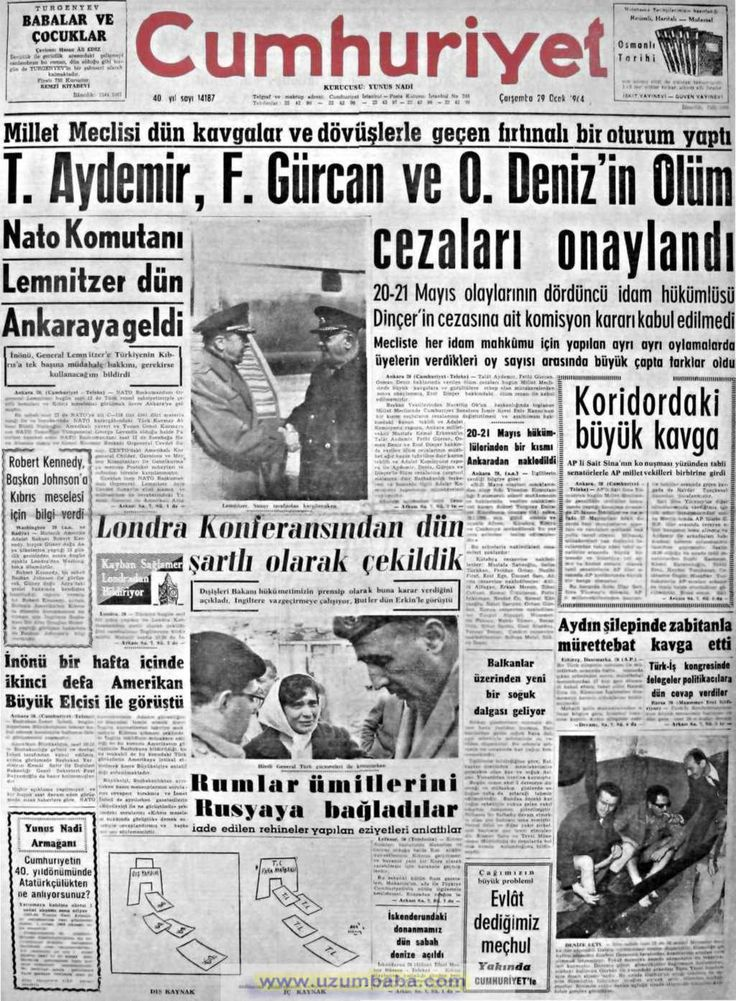 Cumhuriyet gazetesi 29 ocak 1964