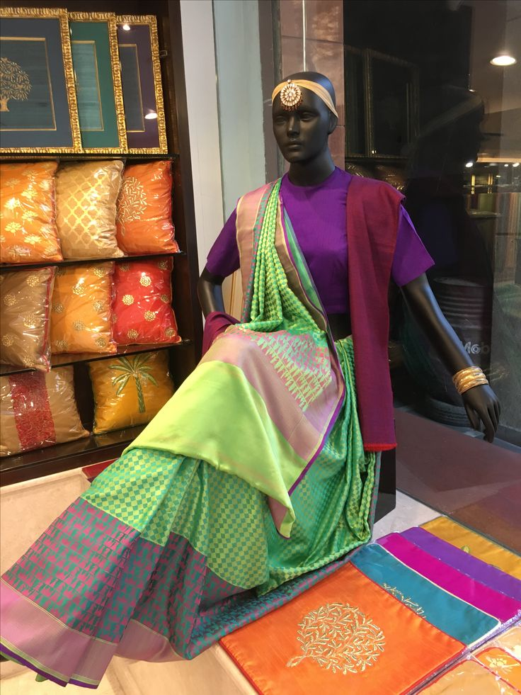 Checkmate- Elegant banaras saree from Vidhi Singhania depicting a check board.
