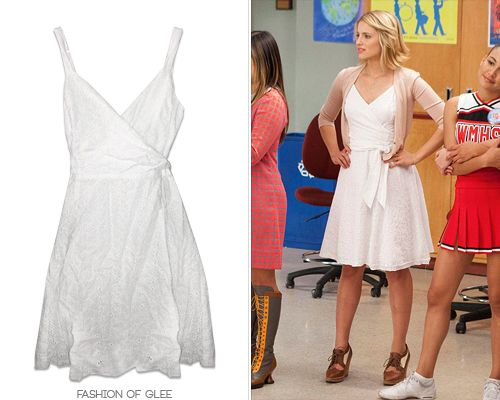 If you've followed Fashion of Glee for a while, you'll know about our love-hate relationship with all the vintage pieces worn on the show. Gorgeous retro pieces… which we can't get our hands on.  But, thanks to daphneblakes, we now not only know that Quinn's coveted eyelet dress from 'I Kissed a Girl' is vintage, but that its twin is on Ebay right now, going for a steal!  Vintage Eyelet Wrap Dress - $25.00 (EBAY size 10)  Worn with: Marc by Marc Jacobs bag,